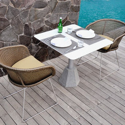 Lebello - Lebello - Outdoor Square/ Round Dining Table - Diamond T - The Diamond Table by Lebello, a modern outdoor dining table, built strong with real cut granite hexagon base with colored powder coat aluminum pole attachment and stainless screws. Available in round and square top in 3 sizes.