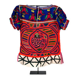 """Salvatecture Studio - Vintage Kuna Mola Costume Mounted on Iron Stand - Bird - Fans of Central American culture, you need this vintage Kuna costume gracing your mantle. Hailing from Panama, two """"molas"""" form the front and back panels of this exquisite blouse. Each panel is handmade using a reverse appliqué technique and two to seven layers of cloth, with layer cut away to form part of the colorful design. Displayed on a reclaimed iron stand, this breathtaking collectible will bring your living room cheerful inspiration."""