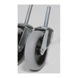 Z Racks - 4 in. Replacement Caster w Hardware for Z-Rac - Single Heavy duty replacement caster. 4 in. grey non-marking soft rubber with TP center