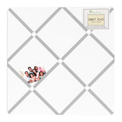 Sweet Jojo Designs - Diamond Gray and White Fabric Memo Board by Sweet Jojo Designs - The Diamond Gray and White Fabric Memo Board by Sweet Jojo Designs, along with the bedding accessories.