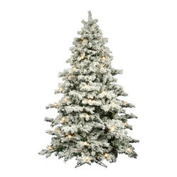 Flocked Alaskan Full Pre-Lit Christmas Tree