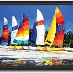 "Joseph LaPierre - Bright Hobies 10 x 13 Print - ""Bright Hobies"" is a tropical sailing canvas giclee by Joseph LaPierre. We present this to you in a 1/2"" black floater frame with no lip or edge of frame overlapping the face of your picture. This makes for an overall framed size of 10 x 13."