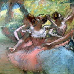 Wallmonkeys Wall Decals - Fine Art Murals Four Ballerinas on the Stage by Edgar Degas  - 42 Inches W x 34 - Easy to apply - simply peel and stick!