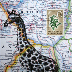 Giraffe Print Collage on Map of Africa by Crow Biz - This is a nice print for the safari-themed child's room. I like how it is printed on a vintage map to give it a second layer.