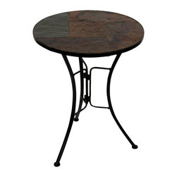 4D Concepts - 4D Concepts Slate Round Top Coffee Table in Black Metal - What a beautifully crafted round steel and natural rustic slate coffee table. This end table is perfect for any room of the house. This unit can be moved wherever you need an additional table. The metal is finished in a rich powder coated black which gives it a distinct look. The beautifully tapered legs flair out at the bottom to give the table a unique and durable look. Constructed of metal and stone. Clean with a dry non abrasive cloth. Assembly required.