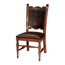 "TerraSur - Tabak Side Chair - This chair features an exquisitely carved crest rail with a 3/4"" hexagonal nailhead trim and lathe turned legs.  Made in Argentina."