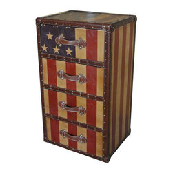 International Caravan - International Caravan Americana Stars and Stripes 4-Drawer Chest - International caravan - Chests - 46B10B357 - This truly unique piece adds a touch of vintage Americana to your decor. This 'Stars and stripes' 4-drawer chest combines the classic faux leather look of 'Old Glory' and has the storage capability of a three-drawer design.