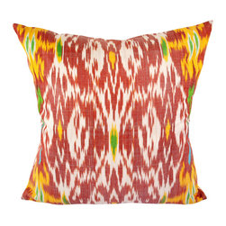 """Kaleidoscope 20"""" Ikat Pillow Cover - P-A507 - Ikat pillow cover constructed from hand woven Ikat fabric from Uzbekistan. This red and white Ikat fabric with gold and green accents will add an energetic lift to many decor styles, from contemporary, to traditional, to modern decor."""
