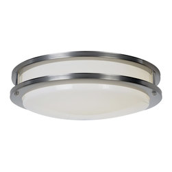 Premier - Fluorescent 15 inch Ceiling Fixture - Nickel - AF Lighting 614018 Fluorescent Flush Mount, Satin Nickel Finish, 15in. D by 4.75in. H.
