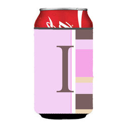 Caroline's Treasures - Letter I Initial Monogram - Pink Stripes Can or Bottle Hugger - Can Cooler - this collapsible koozie fits 12 ounce beverage.  Cans or bottles.  Permanently dyed and fade resistant. Will not crack or peel.  Great to show off your breed.  Match with one of the insulated coolers for a nice gift pack.