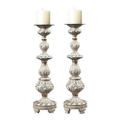 Sterling Industries - Candle Holders In With With Gold Highlight - Candle Holders In With With Gold Highlight