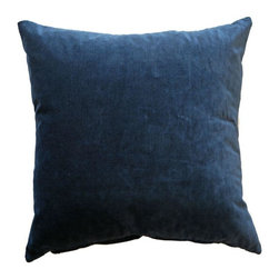 "Pre-owned Navy Velvet Pillows - Set of 3 - Romantic Romo Semper Midnight velvet fabric 22""x22"" pillows. This sweet set comes complete with feather and down inserts."