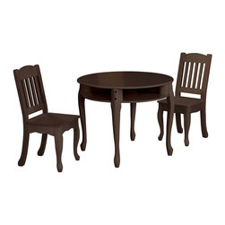 "Teamson Kids - Windsor Espresso Round Table And Chairs Set - Let style and functionality meet with our magnificent Windsor Espresso Rectangular Children's Table And Chairs Set. Exquisitely designed by the Teamson Company, this table and chair set is made to last. Perfectly hand carved of superior wood, and vividly hand painted of a fine espresso color, this set embodies a style that can match any room decor. Includes 1 table and 2 chairs. Dimensions: 28"" x 28"" x 23.88"" Note: some assembly may be required."