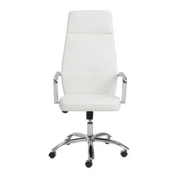 Eurostyle - Napoleon High Back Office Chair - White/Chrome - Leatherette over foam seat and back