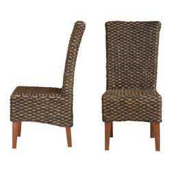 Modus Furniture - Modus Meadow Wicker Dining Chair in Brick Brown - Set of 2 [Set of 2] - Wicker Dining Chair in Brick Brown - Set of 2 belongs to Meadow Collection by Modus Inspired by the bold, industrial character of an early 20th century work table, the Meadow dining collection brings warmth, individuality and character to your space. Constructed entirely from solid Acacia, a hardwood known for stunning grain patterns and rich contrasting colors, each piece is wire brushed, hand-glazed and hand-finished, creating wood surfaces that radiate texture and depth of color. Matching chairs are finely hand woven from Water Hyacinth, a sustainable and renewable fiber. The table expands from 63 to 95 inches, comfortably seating up to 8 guests for intimate or larger gatherings. With features such as mortise and tenon corners, English dovetail drawer joinery and sinuous spring chair seats, the Meadow collection mingles aesthetics with rugged durability, making it an easy centerpiece for anyone designing a new dining room. For the minimalist, bold lines call only for complementary colors and dinnerware of your choosing. For the more creative, the multi-tonal character of hand-hewn Acacia lumber and woven fiber unlocks a broad spectrum of compatible colors and textures. Natural ambience is easily embellished with modern, traditional, rustic or lodge-styled pieces, patterns, and accessories. Dining Chair (2)