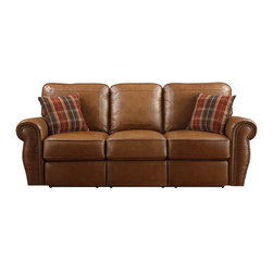 Emerald Home Furnishings - Terrell Power Reclining Leather Sofa by Emerald Home Furnishings in Brown - Terrell Power Reclining Leather Sofa by Emerald Home Furnishings in Brown