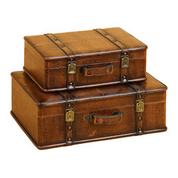 ecWorld - Leather Decorative Trunk Cases and Storage Accent Decor 2-Piece Set - Tan - These stylish leather trunks are both attractive and functional. They are ideal for adding storage to your space as well as adding a beautiful accent to your decor. Ideal for a wide range of decor styles. Ready to display.