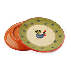 Vita Casalinga - Hand-Painted Rooster Salad/Dessert Plate - Treat yourself, or a friend, to hand-painted salad or dessert plates in Italian terracotta. There is nothing like serving up colorful salads and luscious desserts on vibrant plates.  Made in Italy, by La Gabbianella, these plates make even the most mundane of meals a special event!
