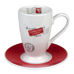 Konitz - S/2 Irish Coffee Cups & Saucers - This fantastic cup and saucer look as if they've been signed, sealed and delivered to you from Italy. And once you add some French-press coffee and a shot of Irish whiskey, you'll feel the international love.