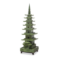 China Furniture and Arts - Hand Carved Jade Pagoda Tower - This jade pagoda tower is completely hand carved from He Nan Province, China. Intricately carved around the four sides with a specially constructed wooden base included. A truly collectible piece.