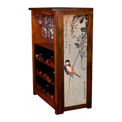 "Kelsey's Collection, Inc. - Hiroshige Wine Cabinet With A Bird On A Wisteria - Pine Wine Cabinet  stores wine and glassware with famous artwork by Ukiyoye artist Aldo Hiroshige giclee-printed on canvas side panels. The art is giclee printed on canvas with three coats of UV inhibitor to protect against the sunlight and thereby extend the longevity of the art. The canvas is then glued onto panels and inserted into the frames. Kelsey's Wine Cabinet showcases and stores wine and glassware with solid radiata pine construction. Famous artwork is giclee-printed on canvas side panels which provide a unique decorating touch of art that enhances the product and reflects your home-decor style.  The frame, top, and racks are solid New Zealand radiata pine with a hand stained and hand rubbed rubbed medium reddish brown finish, that is then protected with a  lacquer coat and top coat.. Kelseys Collection is where ""Great Art & Function Meet""  This model is also referred to as the Jessica model. Dimensions are 33 by 22 by 12 deep.  Holds 15 wine bottles and full sized wine glasses.  Some assembly required."