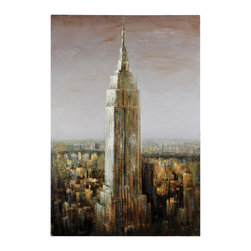 Ren-Wil - Ren-Wil OL632 Empire State - Empire state building rendered in neutral and cooler tones. Painted on a gallery wrap canvas.