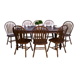 Sunset Trading - 9-Pc Eco-friendly Dining Set in Chestnut Fini - Includes table and eight chairs. Chair with perfectly carved turned legs. Large backrest and seating area. Windsor style arrow back. Curved and comfort back. Scooped seat. Sturdy quality craftsmanship. Table with removable 16 in. leaf. Extra thick table top and legs. Built-up edge. Solid handcrafted hardwood. Warranty: One year. Made from Malaysian oak. Made in Malaysia. Minimal assembly required. Chair: 19.5 in. W x 20 in. D x 38 in. H (16 lbs.). Table minimum: 56 in. L x 42 in. W x 30 in. H. Table maximum: 72 in. L x 42 in. W x 30 in. H (140.84 lbs.)Welcome guests into your home with a touch of country comfort with this classic American piece from the Sunset Trading - Sunset Selections Collection. Whether it's casual coffee and conversation, everyday dining, holidays or special occasions, memories are guaranteed to be made when family and friends gather around this versatile dining table. Warm and inviting, the classic beauty and craftsmanship of this dining tables makes it equally appropriate for your kitchen or dining room fulfilling all your formal and informal dining needs. This beautifully designed dining table supplied by Sunset Trading will assure you many years of use and enjoyment. Complete your dining decor with the country charm of timeless casual dining chairs from the Sunset Trading - Sunset Selections Collection. Offering traditional classic beauty and style, yet always dependably functional, your family and friends will enjoy the seating comfort of these inviting relaxed dining chairs for years to come. This beautifully designed furniture supplied by Sunset Trading will assure you many years of use and enjoyment.