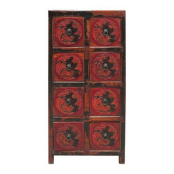 "Golden Lotus - Rustic Red Flower Carving 8 Drawers Storage Cabinet - Dimensions:   w17.5"" x d15.75"" x h36"""