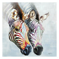 YOSEMITE HOME DECOR - Zebras in Color - A pair of zebra heads painted in soft tones of red, yellow, blue, green, and purple stand out on a pale gray background.