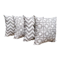 Land of Pillows - Zig Zag Chevron Stripe and Gigi Storm Grey Decorative Throw Pillow - 4 Pack, 16x - Fabric Designer - Premier Prints