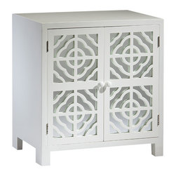 """Inviting Home - White Mirrored Cabinet - mirrored cabinet with lacquered white finish; 25-3/4""""W x 18""""D x 28""""H; Rectangular cabinet with lacquered white finish. This cabinet has two doors with mirrored panels and cut out designs one shelf inside."""