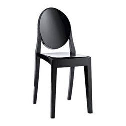 "LexMod - Casper Ghost Dining Side Chair in Black - Casper Dining Side Chair in Black - Combine artistic endeavors into a unified vision of harmony and grace with the ethereal Casper Chair. Allow bursts of creative energy to reach every aspect of your contemporary living space as this masterpiece reinvents your surroundings. Surprisingly sturdy and durable, the Casper Chair is appropriate for any room or outdoor setting. Pure perception awaits, as shining moments of brilliance turn visual vacuums into new realms of transcendence. Set Includes: One - Casper Side Chair For Outdoor Use, No Assembly Required, Injection Molded, Stackable, Sturdy Polycarbonate Overall Product Dimensions: 15""L x 13""W x 36""H Seat Dimensions: 15""L x 11.5 - 14""W x 18.5""H - Mid Century Modern Furniture."
