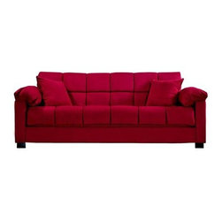 "Handy Living - ""Handy Living Living Room Microfiber Convert-A-Couch Sleeper Sofa, C..."" - ""Transitionally designed sofa sleeper features pillow top arms. Converts into a full size bed with the touch of a hand. Finished block wooden legs. Covered in a crimson red microfiber. Covered in a durable 100-percent polyester microfiber that is stain resistant. Includes two decorative pillows. Sofa sleeper is a very versatile piece of furniture that has a three position click style hinge which allows you to sit, recline or sleep 2 comfortably. 10-inch pillow top seat cushion for extra comfort. 576 independently wrapped pocked coil spring system. Polyester fiber, foam and pocket coil seat cushion. Polyester fiber filled back cushion. No bar in the back for added sleeping comfort. Upholstered back and arms for center of the room placement. Cushion accommodates full size sheets for sleeping. All powder coated steel seat and back frame. Reinforced with metal-to-metal connections for strength and durability. Steel stretcher from front to back for frame strength and sturdiness. Innovative engineering and design enables this sofa to fit through a 10-inch?opening. Efficient product design uses less fossil fuel based components in construction and delivery. Break it back down to recycle at the end of use for additional piece of mind. Bed Dimension: 72-inch deep by 51-inches wide by 19-inches high. Each piece ships in one box. Assembly required. Takes less than an hour to assemble. Welcome to Handy Living: Your kind of furniture. Right. Now. Their goal is simple: put full size upholstered furniture in a single box that will ship via common carrier to every doorstep. Handy Living has made everyday furniture exciting and different. They believe furniture should be stylish and fun. It should be affordable. It should be easy to deliver quickly and conveniently in a single box - and ridiculously easy to assemble. And it should be environmentally responsible. Handy Living - Thinking Inside the Box.Dimensions (W x L x H): 39.5"""" x 84.25"""" x 36""""Weight: 124.5 lbs.Transitional sleeper sofa with pillow top arms from the convert-a-couch collectionVery versatile piece of furniture that converts into a full size bed with the touch of a handAllows you to sit, recline or sleep two people comfortably10-inch pillow top seat cushion and no bar in the back for extra comfortDurable stain resistant 100-percent polyester microfiber"""