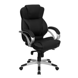 Flash Furniture - Flash Furniture High Back Black Leather Contemporary Office Chair - H-9626L-2-GG - This executive high back office chair from Flash Furniture will complement any contemporary office. featuring attractive white stitching on black leather, comfortable arms, a infinite-lock control mechanism, and a silver nylon base with black caps that prevent feet from slipping, this ergonomic office chair is sure to meet your needs! [H-9626L-2-GG]