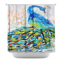 DiaNoche Designs - Shower Curtain Artistic Luminous Peacock II - DiaNoche Designs works with artists from around the world to bring unique, artistic products to decorate all aspects of your home.  Our designer Shower Curtains will be the talk of every guest to visit your bathroom!  Our Shower Curtains have Sewn reinforced holes for curtain rings, Shower Curtain Rings Not Included.  Dye Sublimation printing adheres the ink to the material for long life and durability. Machine Wash upon arrival for maximum softness. Made in USA.  Shower Curtain Rings Not Included.