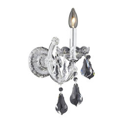 """PWG Lighting / Lighting By Pecaso - Karla 1-Light 8"""" Crystal Wall Sconce 2381W1C-RC - Karla was an Empress from 1740 to 1780 in the waning days of the Baroque period. The Baroque love of embellishment is highlighted in the elaborate crystal swags and drops that fully dress these fixtures in a look that is pure luxury. From the gold or chrome finish to the fully lavish crystal dressing, this Karla collection represents opulent sophistication."""