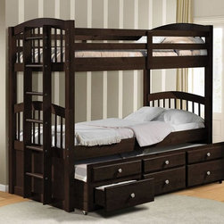 Twin over Twin Bunk Bed Set - The Micah Honey Oak Twin over Twin Bunk Bed with Trundle gives you tons of helpful options to make it more useful to your children.