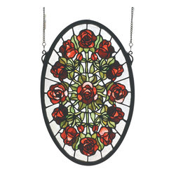 Meyda Tiffany - Meyda Tiffany Oval Rose Garden Window X-50066 - From the Oval Rose Collection, this Meyda Tiffany garden window almost appears to be showing a bouquet of roses from above. The beautiful red and burgundy tones of the roses are complimented by green leaves and lighter trim, allowing focus to remain on the beautiful details.