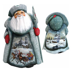 "Artistic Wood Carved Santa Claus Holiday Expedition Sculpture - Measures 11""H x 5""L x 4.75""W and weighs 4 lbs. G. DeBrekht fine art traditional, vintage style sculpted figures are delightful and imaginative. Each figurine is artistically hand painted with detailed scenes including classic Christmas art, winter wonderlands and the true meaning of Christmas, nativity art. In the spirit of giving G. DeBrekht holiday decor makes beautiful collectible Christmas and holiday gifts to share with loved ones. Every G. DeBrekht holiday decoration is an original work of art sure to be cherished as a family tradition and treasured by future generations. Some items may have slight variations of the decoration on the decor due to the hand painted nature of the product. Decorating your home for Christmas is a special time for families. With G. DeBrekht holiday home decor and decorations you can choose your style and create a true holiday gallery of art for your family to enjoy. All Masterpiece and Signature Masterpiece woodcarvings are individually hand numbered. The old world classic art details on the freehand painted sculptures include animals, nature, winter scenes, Santa Claus, nativity and more inspired by an old Russian art technique using painting mediums of watercolor, acrylic and oil combinations in the G. Debrekht unique painting style. Linden wood, which is light in color is used to carve these masterpieces. The wood varies slightly in color."