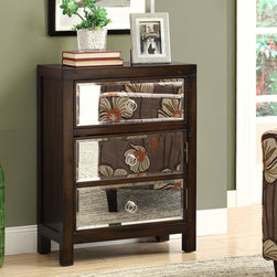 None - Transitional 3-drawer Bombay Chest - A gorgeous dark brown,this transitional Bombay chest features three sleek mirror drawers and elegant ring-shaped pull handles. With three deep drawers,this chest is a convenient and stylish addition to your home decor.