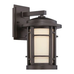 Exterior Lighting Options for Your Front Door - A distinctive accessory for the exterior of the home, the style of the Barrister collection is today's interpretation of past Mission styling and features today's energy efficient LED technology. Finish is Burnished Bronze with White Opal glass.