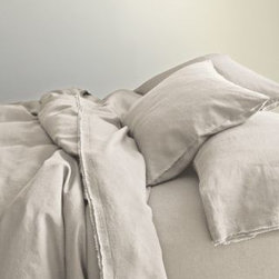 Eileen Fisher - Eileen Fisher Washed Linen Comforter Cover - Double/Queen - Pebble - This airy, soft pure linen bedding by Eileen Fisher feels wonderful year-round and only gets better over time. Picot detailing and raw-edge double fringe on pillowcases and flat sheet. Eileen Fisher Home exclusively by Garnet Hill.