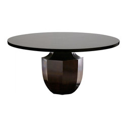Oly Studio - Oly Studio Phillippe Dining Table - Like a faceted gemstone, the sculptural base of Oly Studio's Phillippe table brings modern elegance to a dining room. This multi-dimensional, pedestal-style table supports a contrasting smooth round top. Available in 3 sizes; Hardwood base with shell or resin (pictured) top; Choose from several finish options; Handcrafted with natural and expected variations