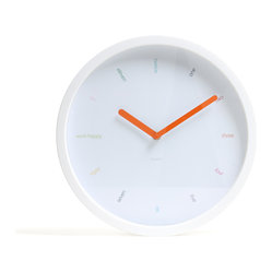 Poppin - Wall Clock, White - It's style-o-clock when you hang this sleek piece on your wall. Each number is written in a different color and bright orange hands tell you just how late you are. It comes with one AA battery and a bracket so you can have an easy time of hanging it.