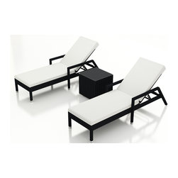 Forever Patio - Urbana 3 Piece Wicker Chaise Lounge Set, Canvas Natural Cushions - The Harmonia Living Urbana 3 Piece Rattan Patio Chaise Lounge Set with White Sunbrella cushions (SKU HL-URBN-CB-3RCLS-CN) brings comfort and style to your outdoor space. Each chaise is constructed with durable, thick-gauged aluminum frames which are protected by a powder coating for superior corrosion resistance. The wicker is made of High-Density Polyethylene (HDPE) with its coffee bean color and UV resistance infused into the strands themselves. This creates a rich wicker color that holds up incredibly well with age.Thick, comfy cushions are covered in Canvas Natural fabric by Sunbrella, the industry leader in mildew- and fade-resistant outdoor fabric. This chaise adheres to the highest quality standards for modern patio furniture in the market today, meaning it will last for years to come.