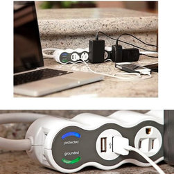 Power Curve Surge Protector with USB - The PowerCurve Surge Protectors feature up to 5 electrical outlets and 2 USB outlets for powering and charging your portable electronic devices. The individual outlets are able to rotate 360 degrees, so accommodating large plugs is not a problem. The curvy look gives a modern feel that will compliment most any decor.