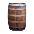 """Master Garden Products - Rain Barrel 27""""W x 35""""H - For water conservation in your community, we recommend you to use our rain barrels in your home to help conserve our natural resources. Our 52 to 60 gallon rain barrels are made of recycled water tight wine barrels that can also be used as a plant stand when rain is not expected by simply closing the top of the barrel. Our vineyard oak wood rain barrel  enables the user to gather and draw upon their own renewable water resources and conserve our natural water supply. At the rain collection area, a screened opening minimizes insect entry into the barrel while filtering debris from incoming water. You don't need to switch a diverter during a downpour with our rain barrel. An overflow hose, located at the top/back of the barrel, designates the direction of excess water to flow. It can be replaced with a hose of longer lengths, to divert overflow to a garden or distant runoff area. All colors shown on the pictures may vary because these are made from used wine barrels, each one is different as we get them."""