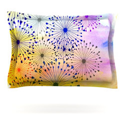 "Kess InHouse - Sreetama Ray ""Bursting Blossoms"" Yellow Purple Pillow Sham (Cotton, 30"" x 20"") - Pairing your already chic duvet cover with playful pillow shams is the perfect way to tie your bedroom together. There are endless possibilities to feed your artistic palette with these imaginative pillow shams. It will looks so elegant you won't want ruin the masterpiece you have created when you go to bed. Not only are these pillow shams nice to look at they are also made from a high quality cotton blend. They are so soft that they will elevate your sleep up to level that is beyond Cloud 9. We always print our goods with the highest quality printing process in order to maintain the integrity of the art that you are adeptly displaying. This means that you won't have to worry about your art fading or your sham loosing it's freshness."