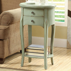 Monarch - Antique Green Veneer 29in.H Accent Table With 2 Drawers - Turn up the style in your home with this distressed antique green accent table with soft curves and generous drawer space. This table features beautiful satin nickel drawer pulls and a fixed bottom shelf.