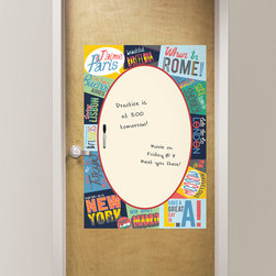 Back to School 2014 - Trendy and chic office decor idea with a beautiful dry-erase travel theme message board. Would look great in a dorm room or teen decor as well